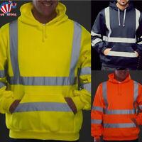 New Mens Hi Vis Visibility Fleece Viz Safety Work Wear Sweatshirt Hoodie Jacket