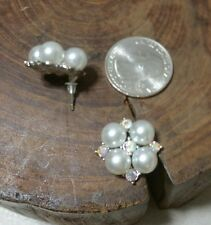 Earring, sparkling clear crystal w/imitation pearl, post, silver color