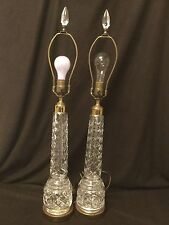 PAIR OF FABULOUS MONUMENTAL TALL WATERFORD CRYSTAL LAMPS WITH CRYSTAL FINIALS