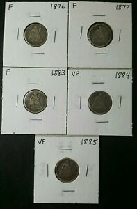 Lot of Five 10c Seated Liberty Silver Dimes