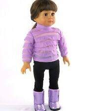 "For 18"" American Girl Doll Top Purple Ruffles Leggings Boots Clothes"