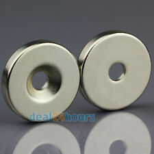 2 x N50 Grade Strong Neodymium Disc Magnets 25mm x 5mm Hole 5mm Rare Earth Neo