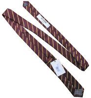 BEN SHERMAN Skinny Mens Bordeaux Red College Stripe Silk Necktie Tie > RRP £35