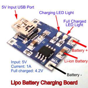 5Pcs TP4056 1A Li-ion BatterieCharging Board Lithium Charger Module Mini USB New