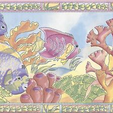 Tropical Fish & Coral Pink Yellow - 60 feet ONLY $24 - Wallpaper Border A146