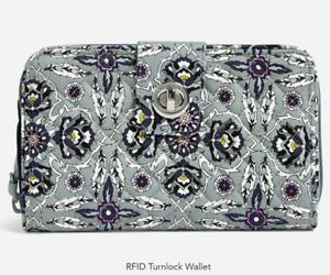 NWT Vera Bradley RFID Turnlock Wallet - Plaza Tile
