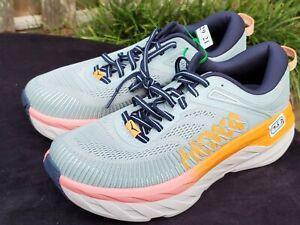 Hoka One Women's 7.5 D 1110531/BHBI BONDI 7 Blue Hazel Black Iris Running Shoes