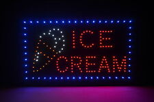 "22"" x 13"" Led Neon Animated Open Sign with On/Off switch Ice Cream Cone"