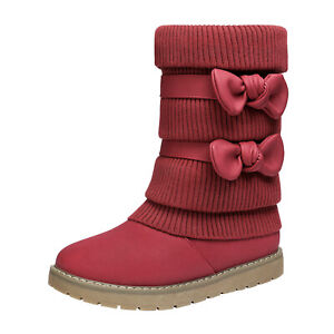 Girls Toddlers Fashion Boots Bow-knot Snow Boots Faux Fur Lined Mid Calf Boots