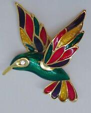 Goldtone Red Green Yellow Vtg Colorful Hummingbird Pin Brooch Cloissonne Bird