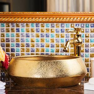 Bathroom Round Golden Paint Basin Carved Wash Basin Washbasin Mixer Tap