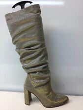Stuart Weitzman Smashing Gold Silver Knee High Boots Size 4.5 M ⭐️