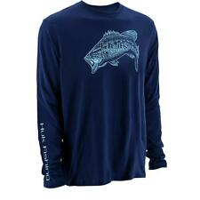 Huk Performance Large Mouth Bass Logo Long Sleeve Navy Blue Fishing Shirt Sz Xl