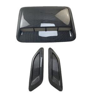 3Pcs Car Decor Air Flow Intake Hood Scoop Vent Bonnet Cover Carbon Fiber Look