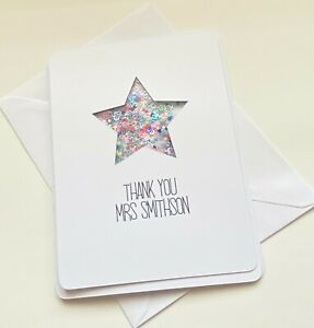 Personalised thank you teacher card sequin shaker card
