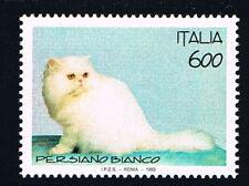ITALIA UN FRANCOBOLLO ANIMALI GATTO PERSIANO BIANCO 1993 nuovo**