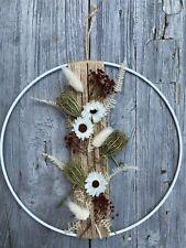 Hochkant gebundener Trockenblumen Flowerhoop, 25 cm **weiß / natur** Metallring,