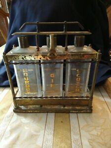 Vintage 40s, 50s, metal portable three bottle liquor set , decanters