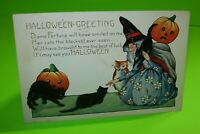Vintage Halloween Postcard Whitney Witch Owl 3 Black Cats 1923 Original Antique