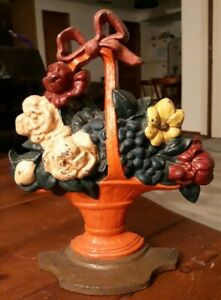 "Antique Cast Iron Doorstop Roses Country Flower Basket 10.75"""