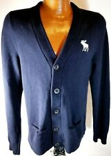Abercrombie & Fitch Mens Moose Medium Blue Button Front Cardigan GC!!!