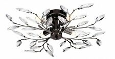 MODERN WILLOW FLUSH 4 LIGHT BLACK CHROME LEAF DESIGN CEILING FITTING CHANDELIER