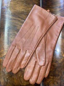 Vintage Tan Leather Gloves 100% silk lined Italian Pia Rossini Soft Medium VGC