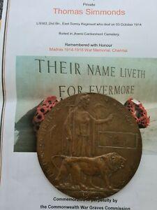 1st world war memorabilia Death Plaque