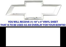 "(1) 10"" x 5"" Gloss White Vinyl Bowtie Overlay Decal For Chevrolet Emblems Oracal"
