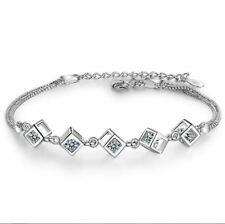 925 Sterling Silver Cube Charm Chain Linked Bracelet Womens Girls Jewellery Gift