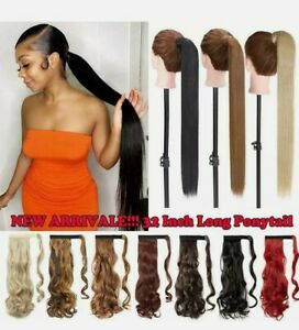 Ponytail Clip In Hair Extension Real Long 20''  Curly Piece Braids Ombre #33