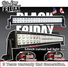 52 inch Curved LED Light Bar + 24inch LED Light Bar Driving Fog Off Road Jeep 50