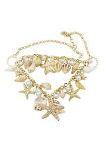 Sea Shell Starfish Faux Pearl Necklace Fashion Jewelry B9m4 Y8t3