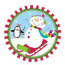 8 Christmas Cheer Happy Snowman Party Large Paper Plates 26.6cm