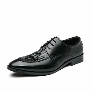 Formal Business Oxfords for Men Classic Faux Crocodile Embossed Leather Shoes