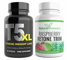 T5 MAX FAT BURNER & RASPBERRY KETONE 120 CAPSULES STRONG WEIGHT LOSS DIET PILLS