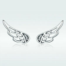 925 Sterling Silver Cute Angel Wings Climbers Ear Studs Stunning Earrings