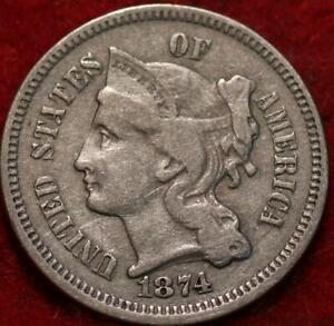 1874 Philadelphia Mint Nickel Three Cent Coin