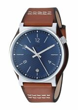 Fossil FS5524 Men's Barstow Stainless Steel 42mm Blue Dial Leather Watch