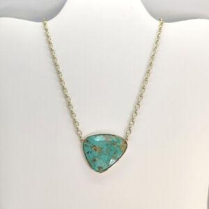 New Kendra Scott Mckenna Pendant Necklace In Green Sea Chrysocolla / Gold