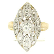 Vintage Marquise Shaped 14k Two Tone Gold .55ctw European Diamond Solitaire Ring
