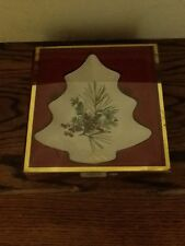 New Lenox Holiday Cream Etchings Tree Candy Dish