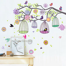 Colourful Flower Tree&Bird Cage Vinyl Wall Stickers Art Decals Girl Child Room