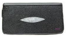 BLACK STINGRAY SKIN LEATHER  CHEQUE LADIES CLUTCH WALLET/ PURSE BRAND NEW