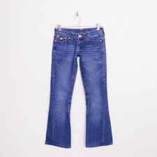 $285 True Religion Joey Godiva Embroidered Flap Pocket Twist Seam Flare Jeans 25
