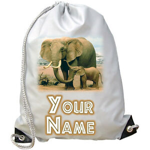 PERSONALISED ELEPHANTS GYM / PE / SWIMMING BAG -GREAT KIDS GIFT & NAMED TOO