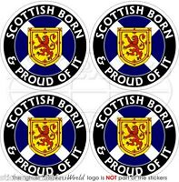 SCOTLAND Scottish Born & Proud UK British 50mm Bumper-Helmet Stickers Decals x4