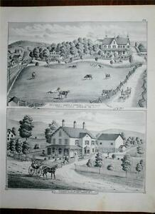 Antique 1875 Print Orange County NY James Cornell Alfred Cooper Monroe Town