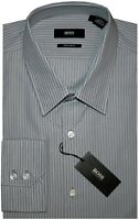 NEW HUGO BOSS BLACK LABEL TAUPE-GRAY WHITE & BLUE STRIPE DRESS SHIRT 17 36/37