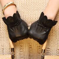 Lady GENUINE LAMBSKIN soft leather winter warm gloves